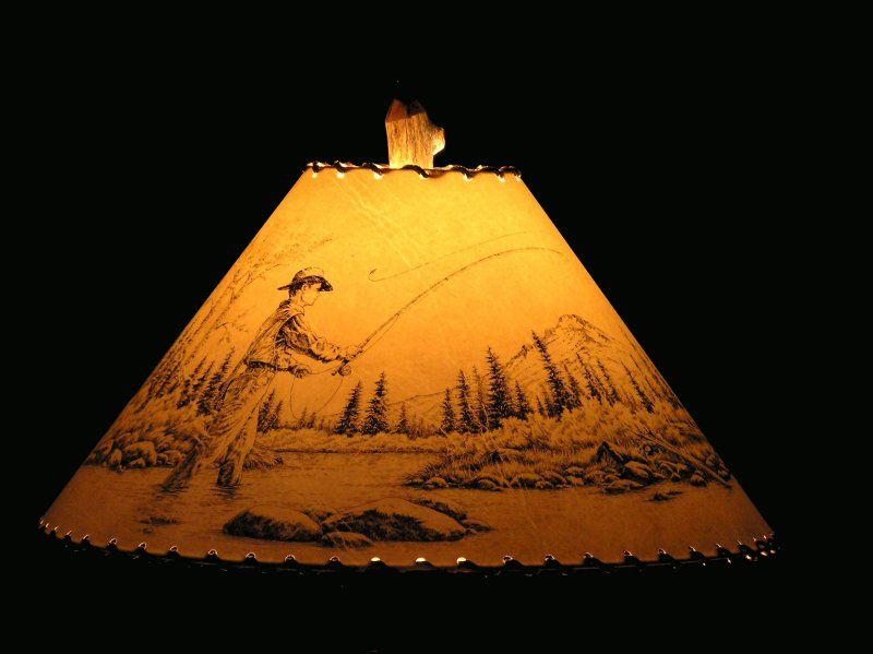 Fly fishing lamp shade house basement ideas pinterest fly fishing lamp shade mozeypictures Choice Image