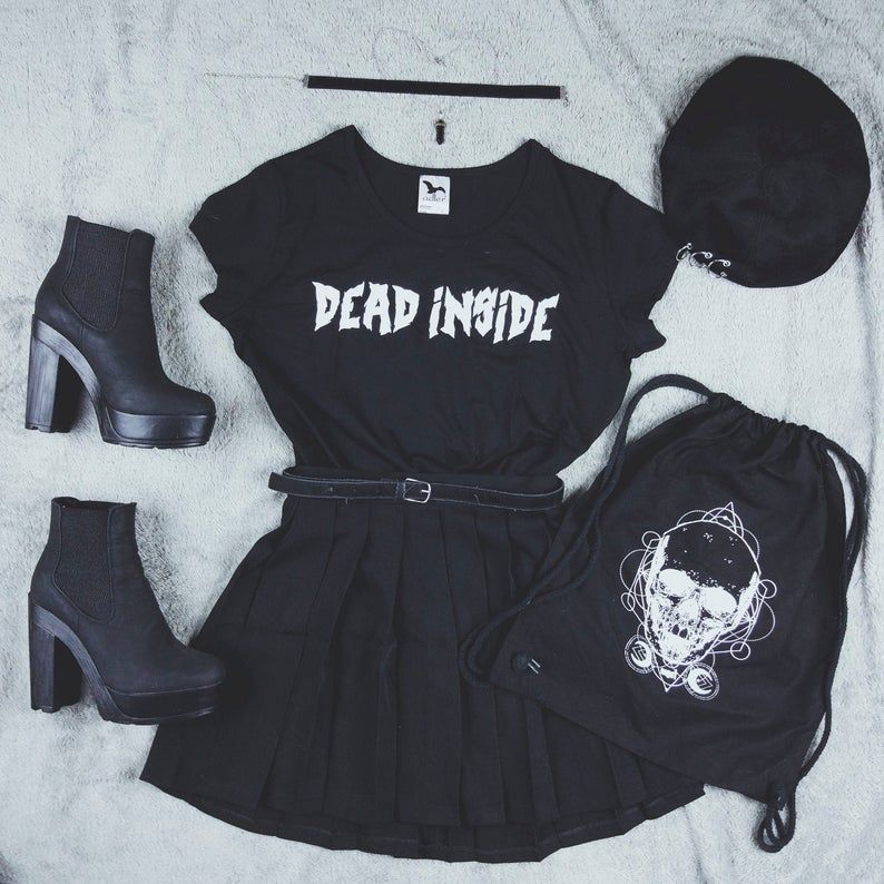 Goth Shirt Dead Inside Gothic Grunge Aesthetic Dark Etsy Goth Shirt T Shirts S Casual Outfits