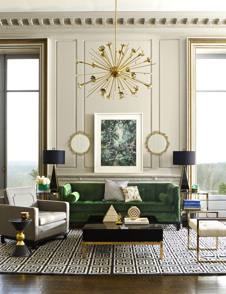 An Emerald Living Room Oasis Complete With Jonathan Adler Furniture Lighting And Decorative Accessories