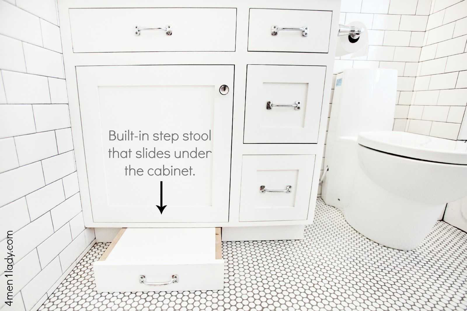 Built In Step Stool That Slides Under The Cabinet 4 Men 1 Lady