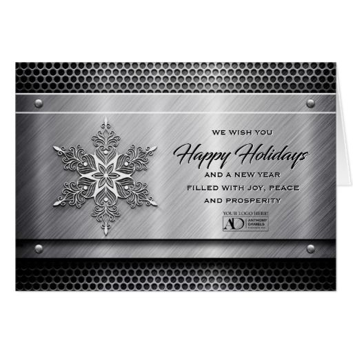 Steel metal business holiday cards with logo business and corporate christmas cards flashek Gallery