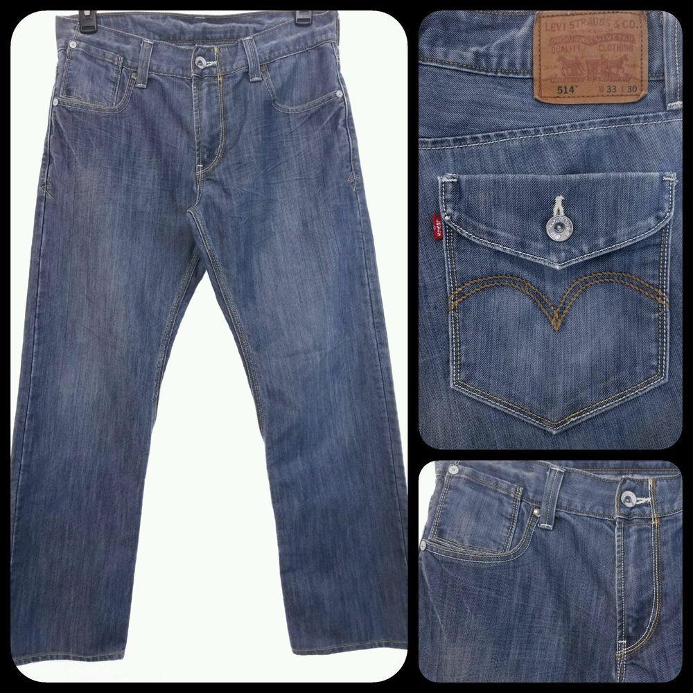 ae05b7f3 Mens LEVIS 514 33x30 Jeans Faux FLAP Pocket 33 x 30 FREE US SHIPPING  Distressed #Levis #ClassicStraightLeg