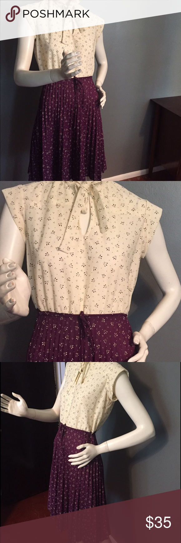 """Beautiful vintage dress Beautiful vintage dress. Accordion pleats in the skirted portion, ivory and plum print. No tags, fabric feels like polyester. Length 39"""", waist 30"""" has a slight stretch up to 2 more inches, bust 38"""" Vintage Dresses"""