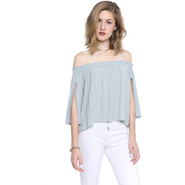 ASTR Annabelle Off-Shoulder Top ($78) ❤ liked on Polyvore featuring tops, lite blue, sexy off shoulder tops, off shoulder short sleeve top, blue top, sexy crop top and sexy off the shoulder tops