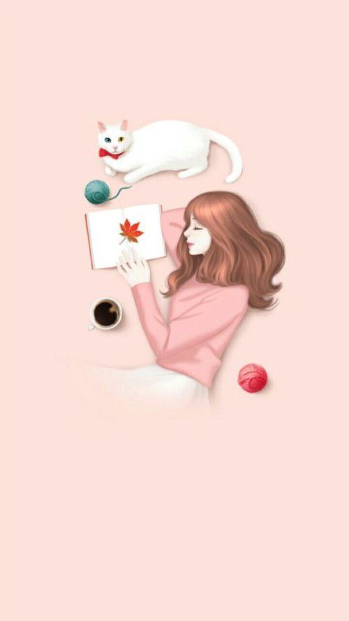 Art Illustration Girl And Art Girl Image Seni Kucing Kartun