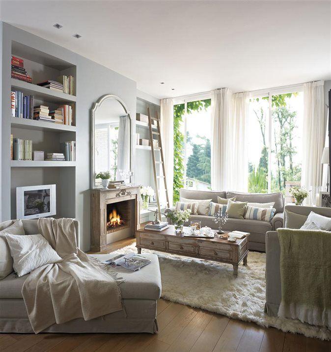 Chaise lounge chimenea y luz natural decoraci n - Chimenea piso pequeno ...