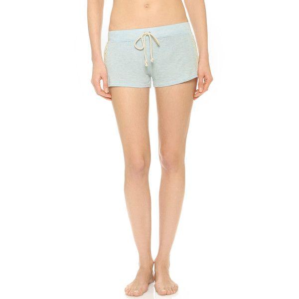 Ella Moss Harlow Shorts ($19) ❤ liked on Polyvore featuring shorts, chambray heather, ella moss shorts, ella moss, elastic waist shorts, elastic waistband shorts and crochet shorts