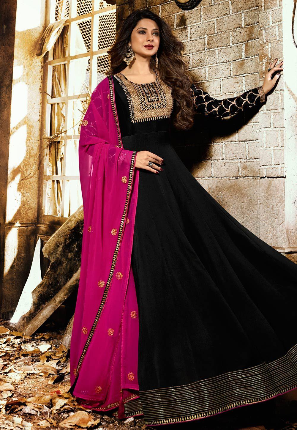 3f488c24255576 Buy Jennifer Winget Black Long Anarkali Suit 161682 online at lowest price  from huge collection of salwar kameez at Indianclothstore.com.