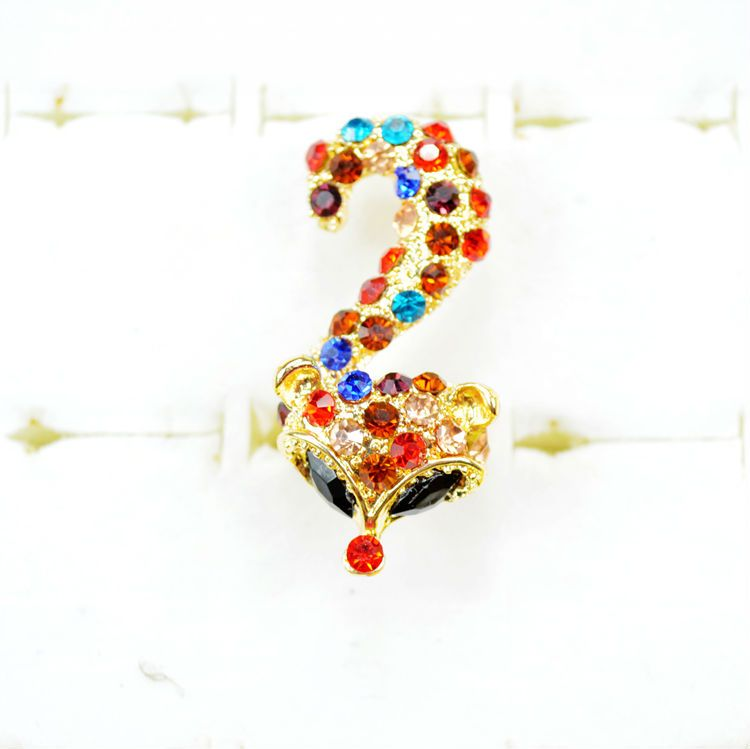Fashion Colorful Big Crystal Fox Ring For Lady With Wholesale Price And Top Quality,6 Colors On Sale $3.77
