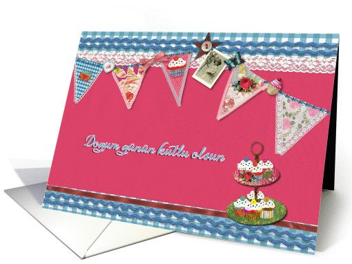 Happy Birthday In Turkish Bunting Cupcake Scrapbook Style Card