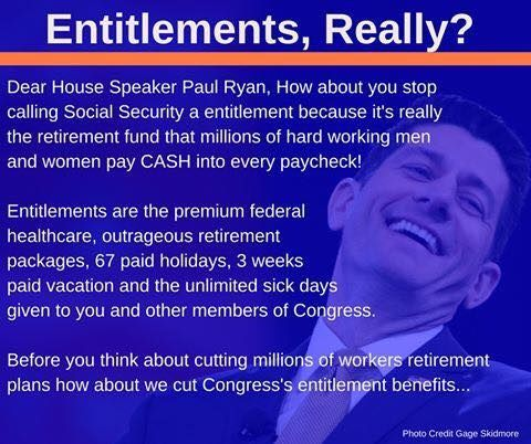 Unpaid ENTITLEMENTS are being given to Congress in healthcare - retirement program