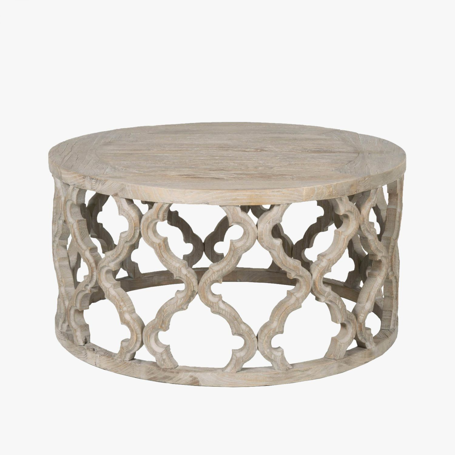Carved Quatrefoil Coffee Table Shop Coffee Tables Dear Keaton Round Wooden Coffee Table Coffee Table Wood Reclaimed Wood Coffee Table