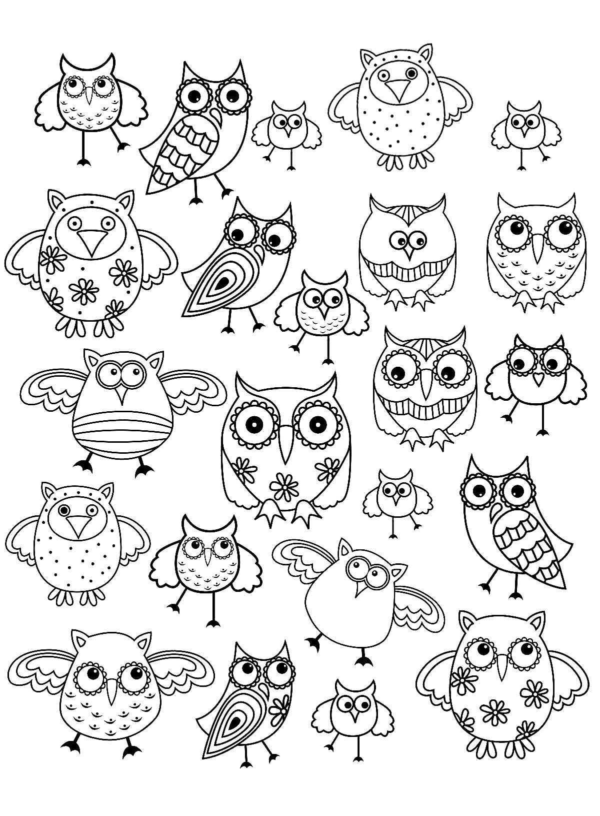 owls composing a simple doodle drawing to print and colorfrom the