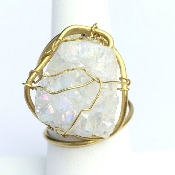 Brilliant white quartz crystal geode ring wire by MyWiredJewelry