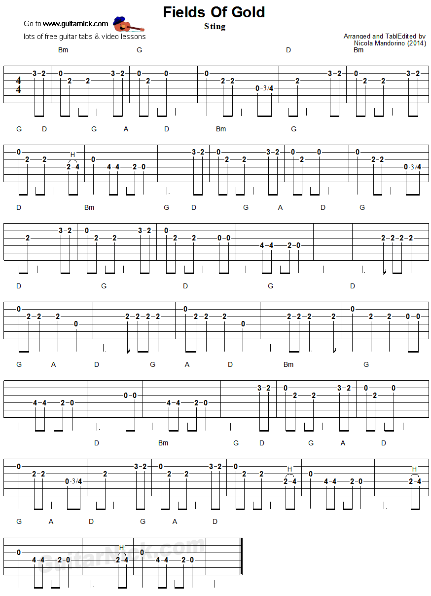 Fields Of Gold Easy Guitar Tablature Music Pinterest