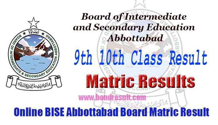 BISE Abbottabad Board 9th 10th Class Annual Matric Result 2017