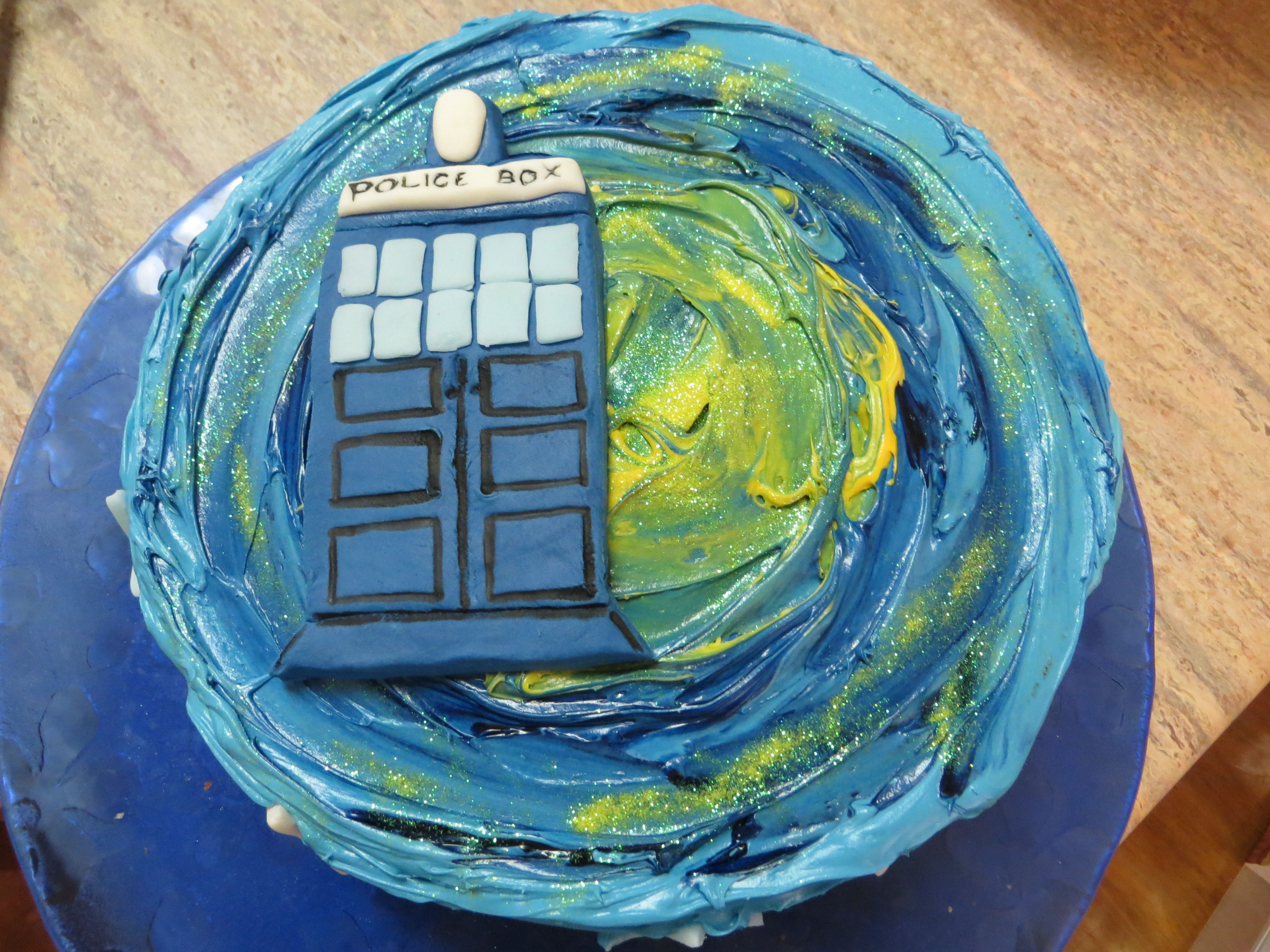 Dr Who Birthday Cakeedible glitter meant it even glowed in the