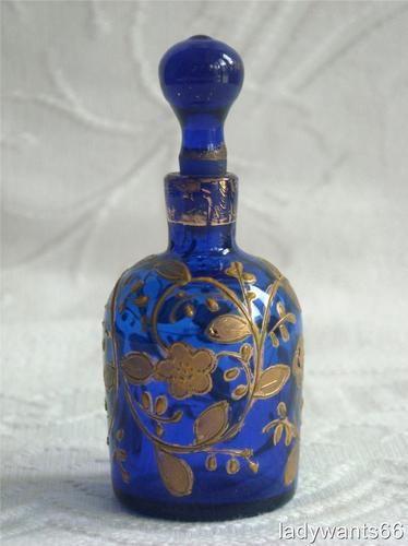 Antique Moser Bristol Blue Enamel Gilt Perfume Scent Bottle Circa 1880 | eBay