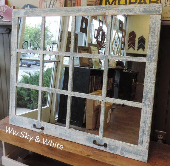 Extra Large Farmhouse Window Pane Mirror 46 Quot X36 Quot Rustic