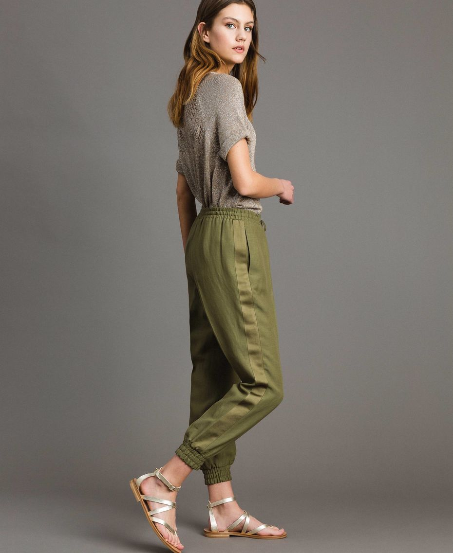 Da Donna Cachi Verde Pantaloni Di Cotone A Gamba Larga
