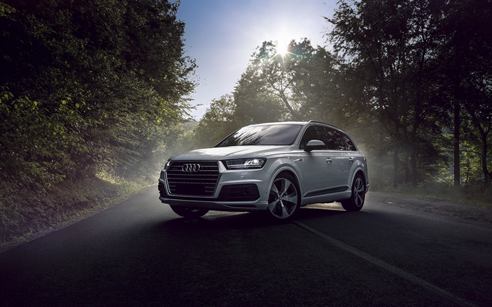 Download Wallpapers Audi Q7 2017 Luxury Suv White Q7 German Cars