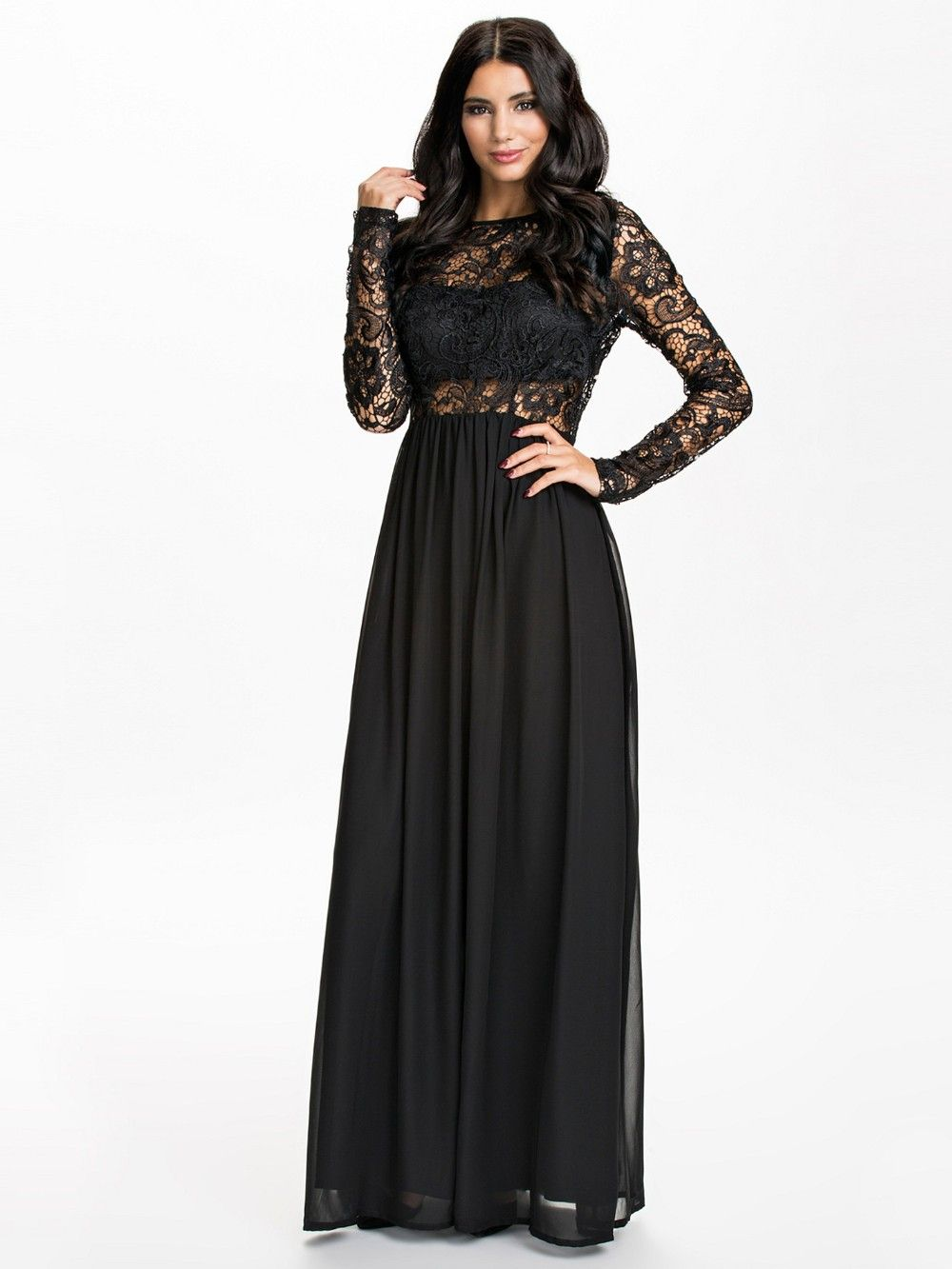 Long sleeve chiffon and lace red and black long dress pretty