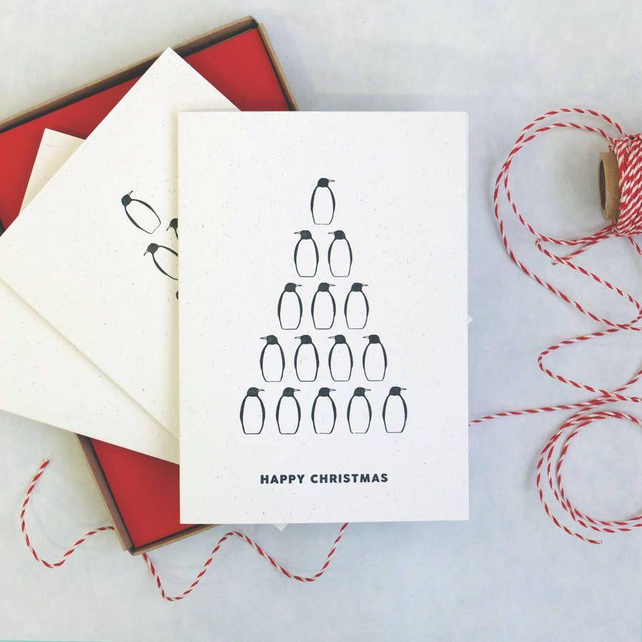 Penguin \'Ten Pin\' Christmas Card | Letterpress | Pinterest ...