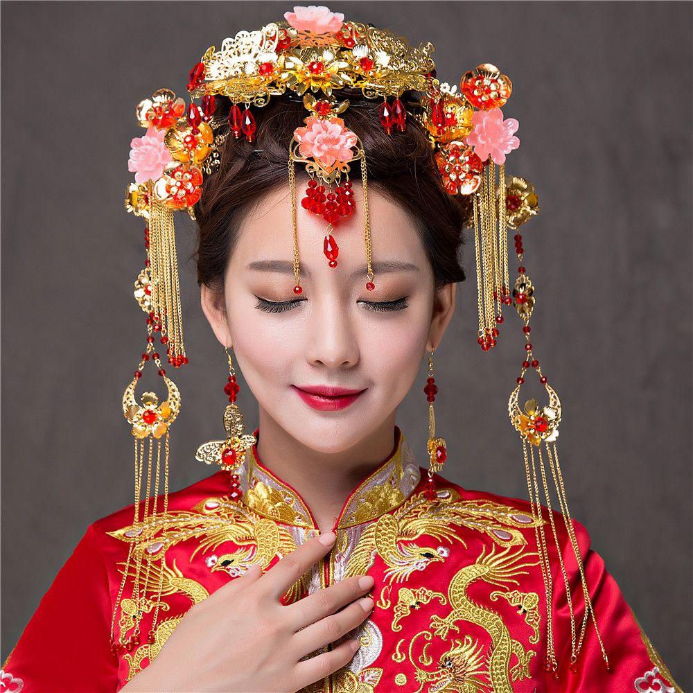 Pas cher Élégance Chinois Vintage De Mariage De Mariée