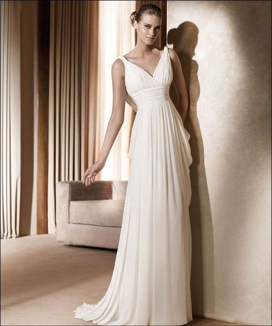 Discount Custom Vintage Greek Style A Line Detachable: Grecian Style Wedding Dress