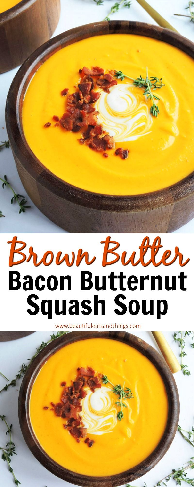 Brown Butter Bacon Butternut Squash Soup - Beautiful Eats & Things