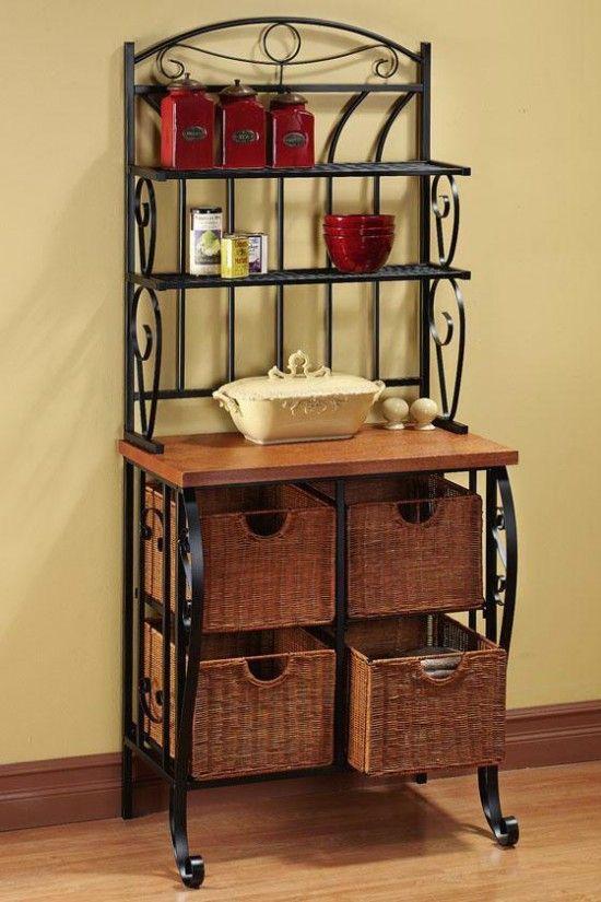 Bakeru0027s Rack With Wicker Basket Storage
