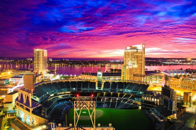 Petco Park At Sunset By Michael Wooten San Diego Activities Petco Park Downtown San Diego