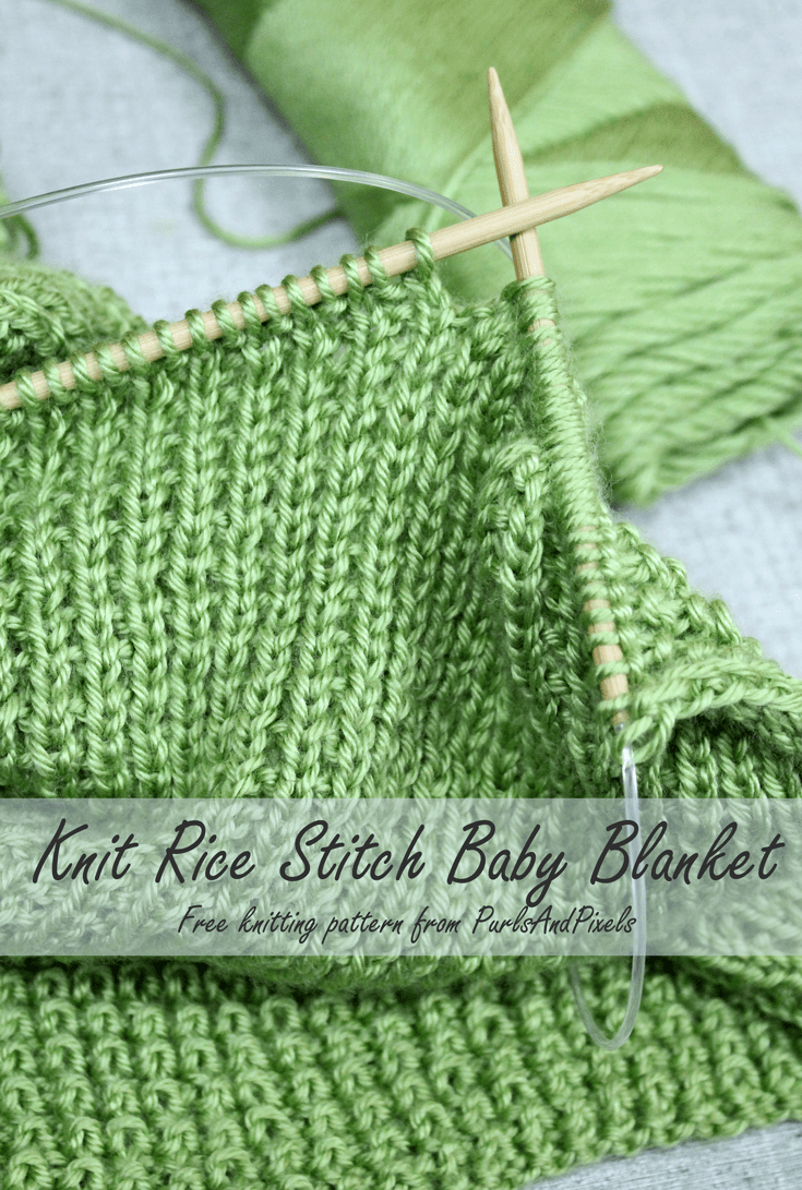 Rice Stitch Baby Blanket Free Knitting Pattern | Knitting patterns ...