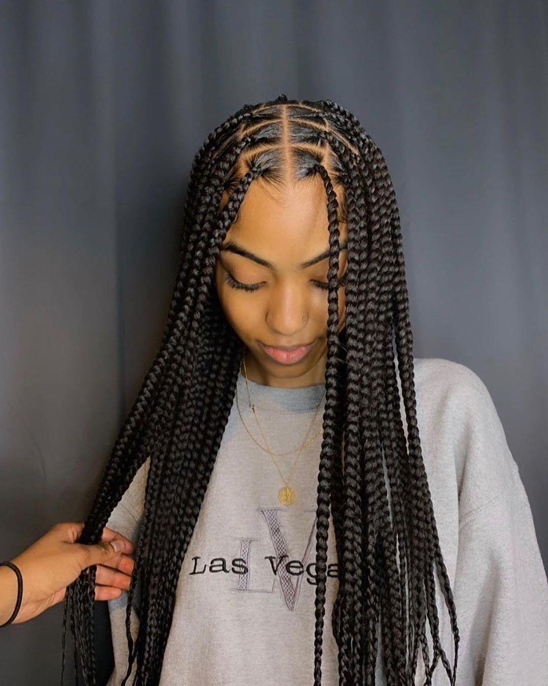 Knotless Braids In 2020 Braids For Short Hair Black Girl Braided Hairstyles Girls Hairstyles Braids