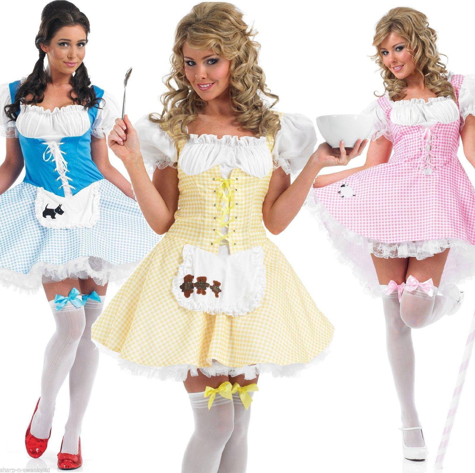 Ladies Sexy Bo Peep Goldilocks Dorothy Fancy Dress Costume Outfit 8