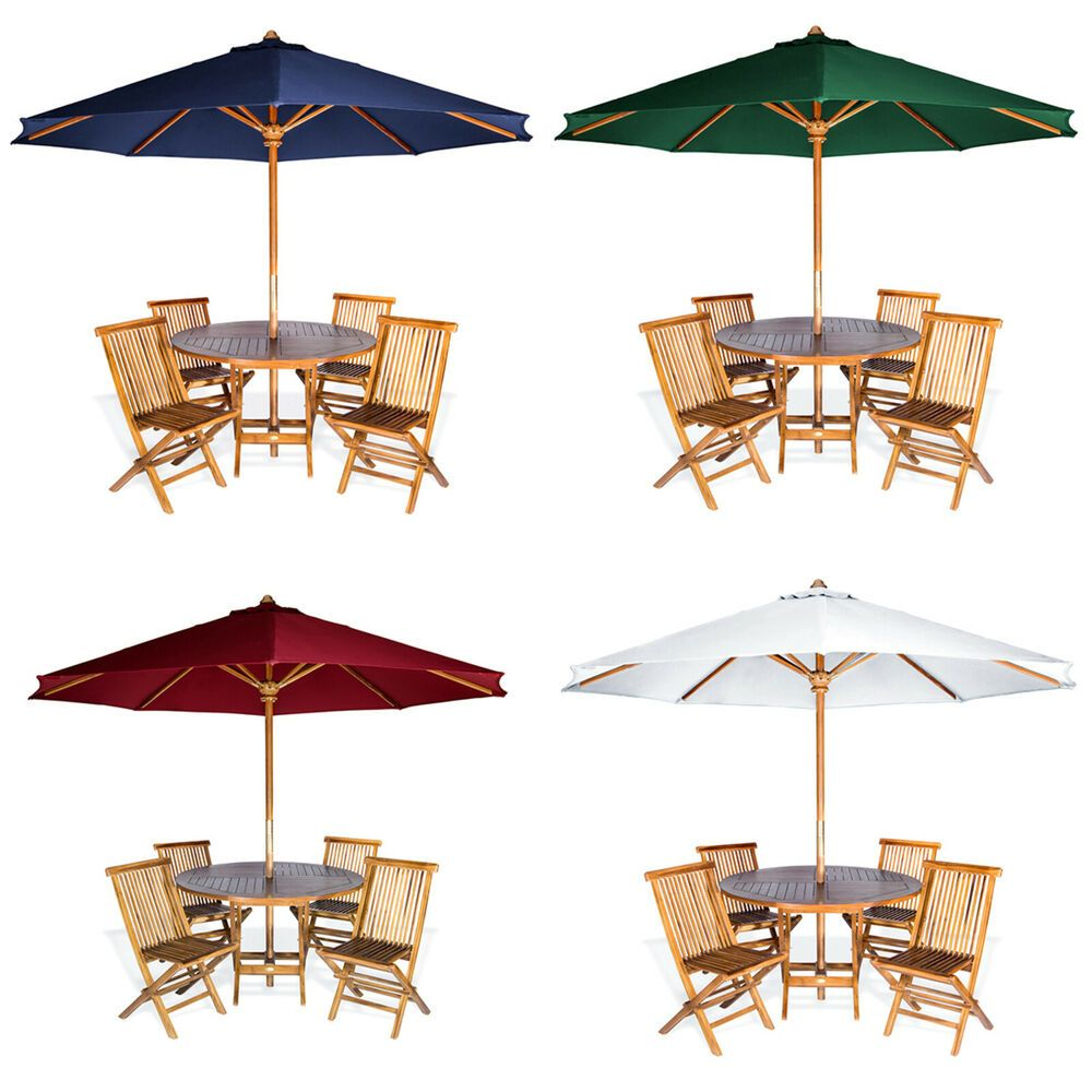 Teak Wood Outdoor Patio Dining Table Set With Umbrella Garden Teak