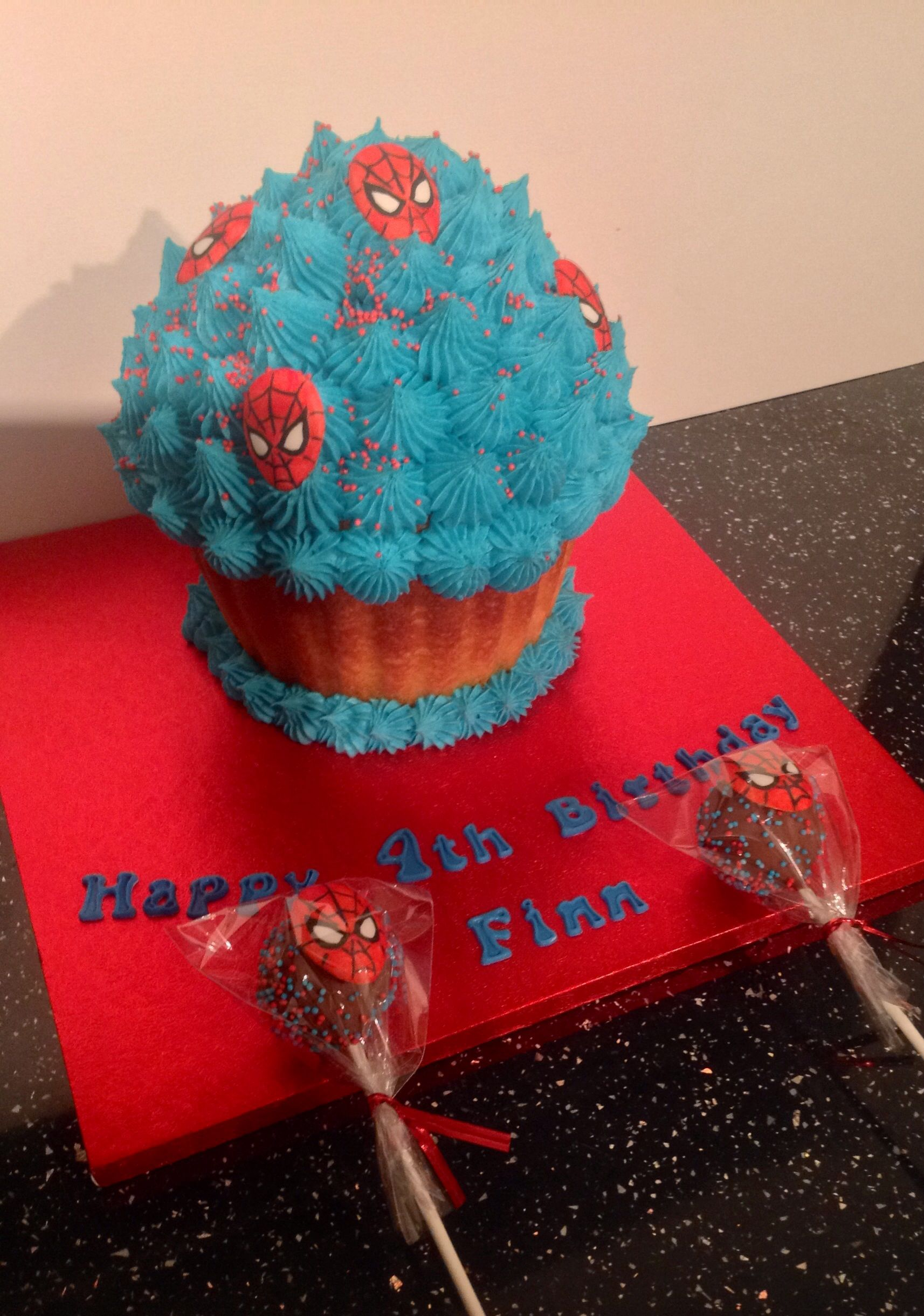 Spiderman Themed Giant Cupcake And Cake Pops