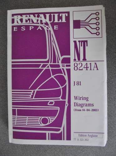Renault Espace J81 Wiring Diagrams Manual 2003 Nt8241a