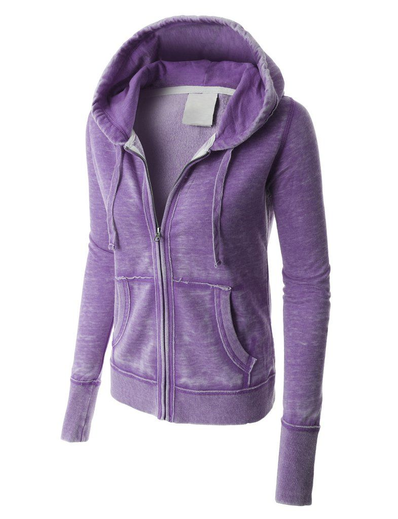 PREMIUM Womens Lightweight Soft Fleece Burnout Zip Up Hoodie Jacket