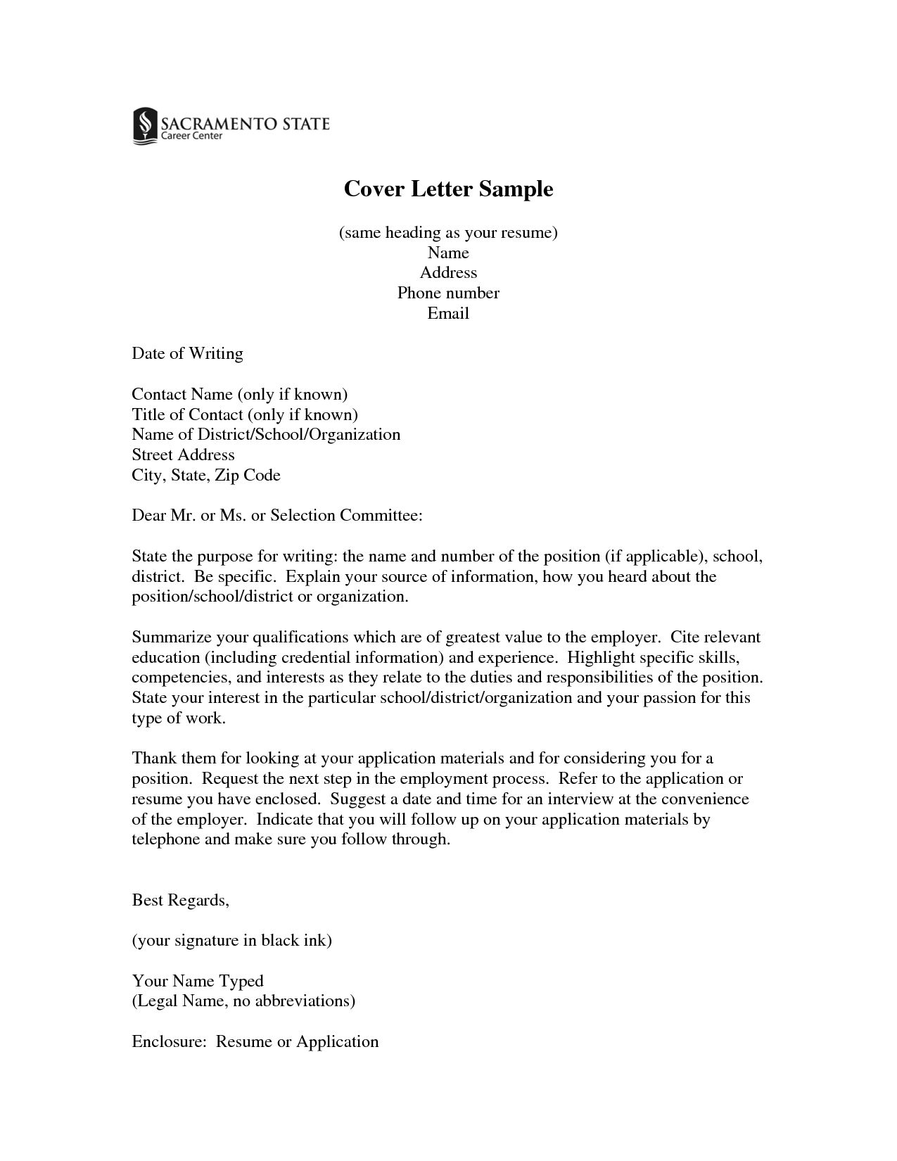 cover letter template header