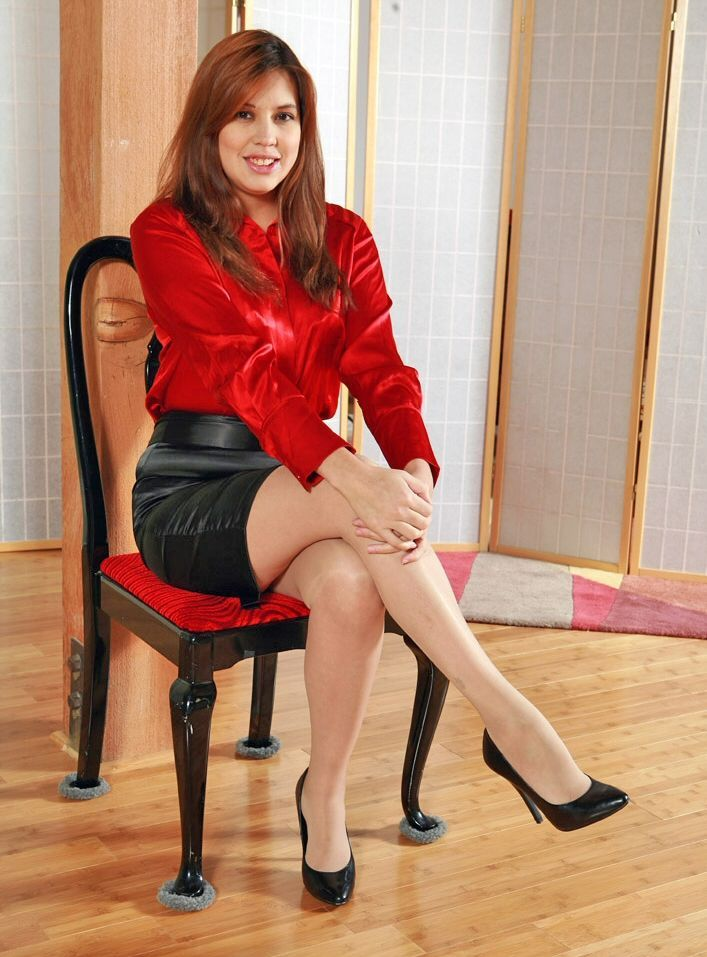 8d6dc1ac23 Black satin Belted Pencil Skirt Red Satin Blouse and Black High Heels