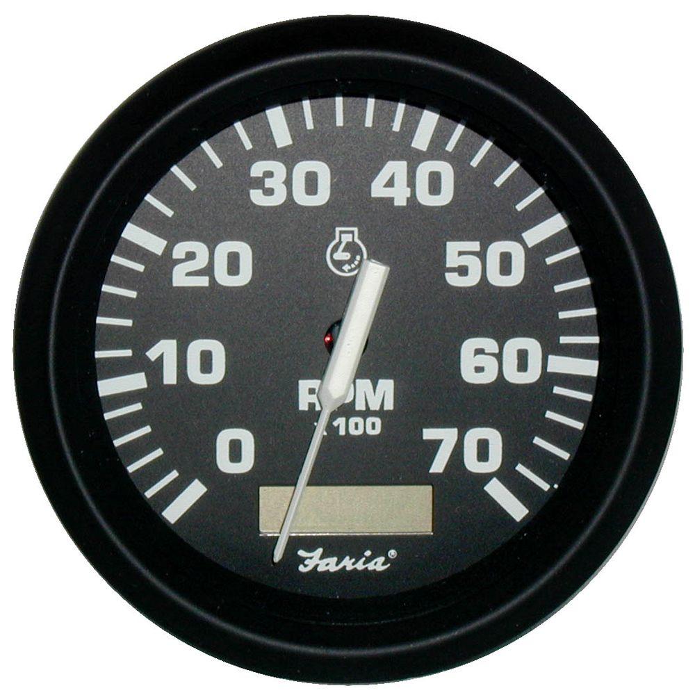 faria euro black 4 tachometer w hourmeter 7 000 rpm gas outboard [ 1000 x 1000 Pixel ]