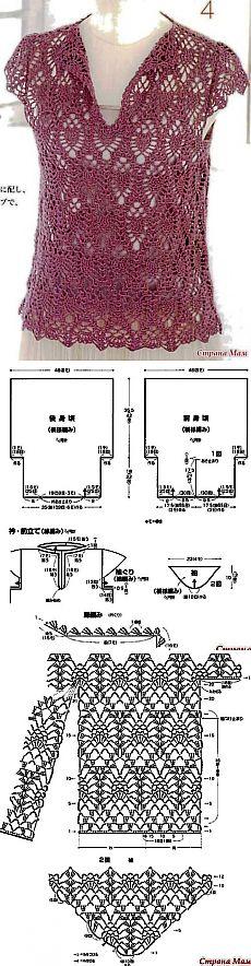 схема вязания крючком кофты сетки