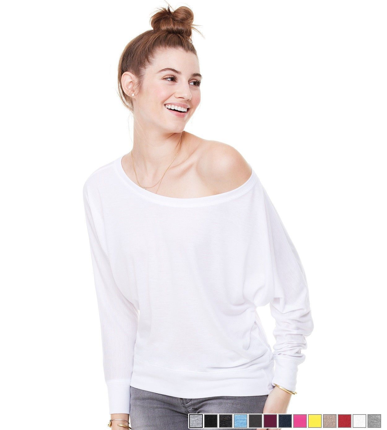 Bella+Canvas Womens Long Sleeve Flowy Off The Shoulder T-Shirt Drape Fit Top New