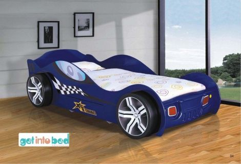 Turbo Racing Car Bed Blue Car Bed Kids Bed Furniture Bed With Drawers