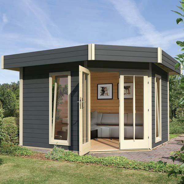 Abri à Toit Plat 8m² En Bois Vitrifié Gris 28mm Corner Cube Karibu Maison