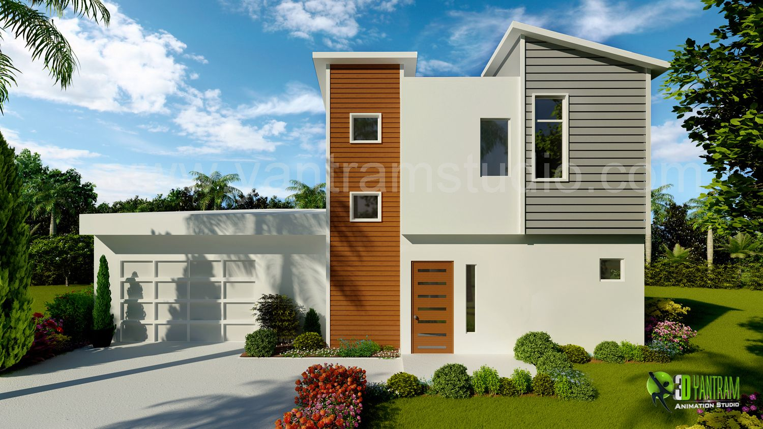 3d exterior home design rendering and animation by for Exterior 3d rendering