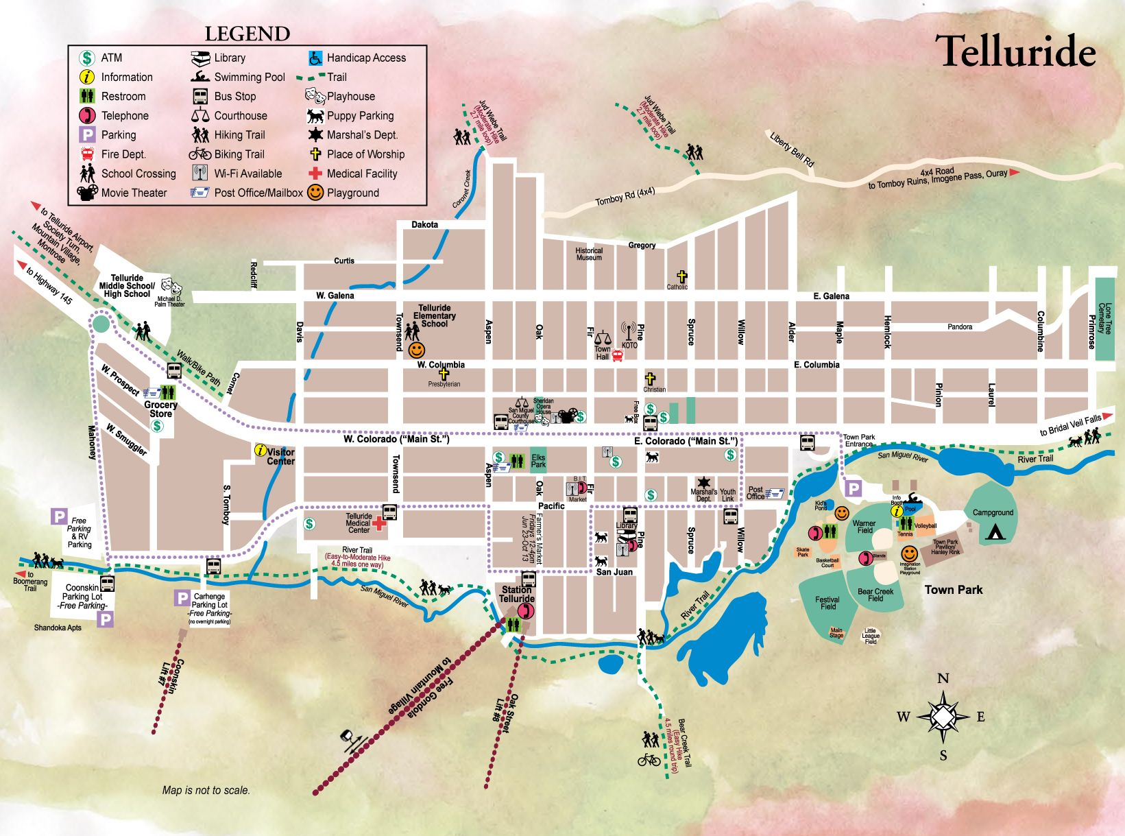 Map Telluride Colorado Area Telluride Town Map   Telluride CO • mappery | The mountains are