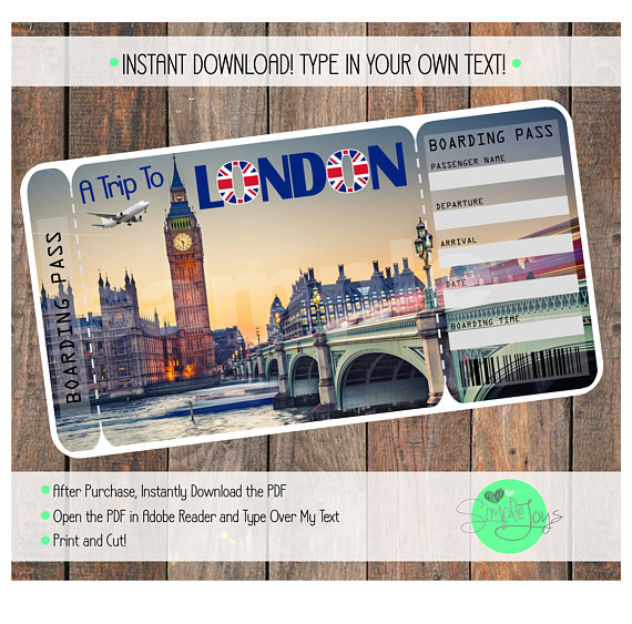 Printable Ticket to London Boarding Pass, Customizable Template - plane ticket template