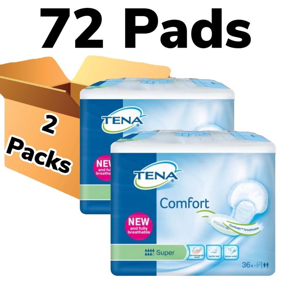 Details About Tena Comfort Super 2 Packs Of 36 72 Incontinence Pads Aid Adult Nappies Incontinence Pads Incontinence Pad